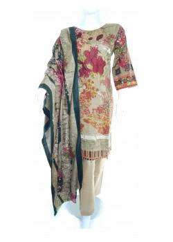 Brown KHADDAR DRESS 3 PCS